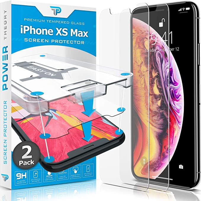 Power Theory Iphone Xs Max Glass Screen Protector 2 Pack With Easy Install Kit Premium Tempered Glass