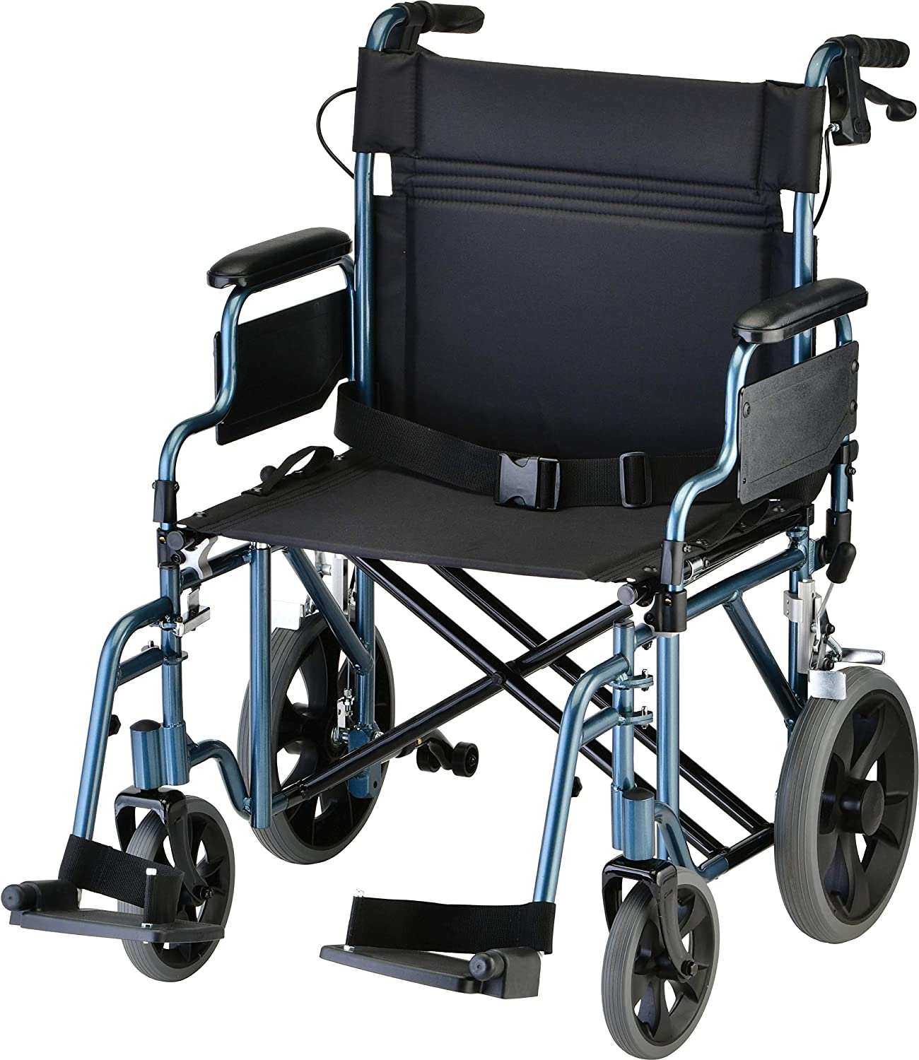 NOVA Bariatric Transport Chair with Locking Hand Brakes, Heavy Duty and Extra Wide Wheelchair with Removable & Flip Up Arms for Easy Transfer, Anti-Tippers Included, 400 lb. Weight Capacity, Blue: Health & Personal Care