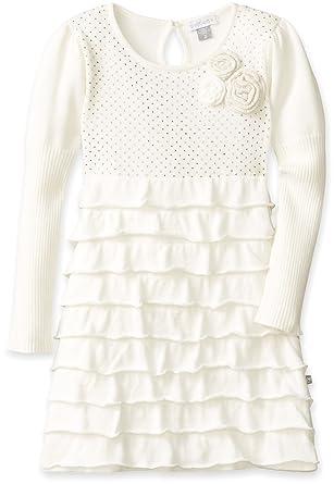 d33d2ca40c24 Amazon.com  Petit Lem Little Girls  White Winter Knit Sweater Dress ...