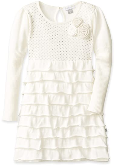 Amazoncom Petit Lem Little Girls White Winter Knit Sweater Dress