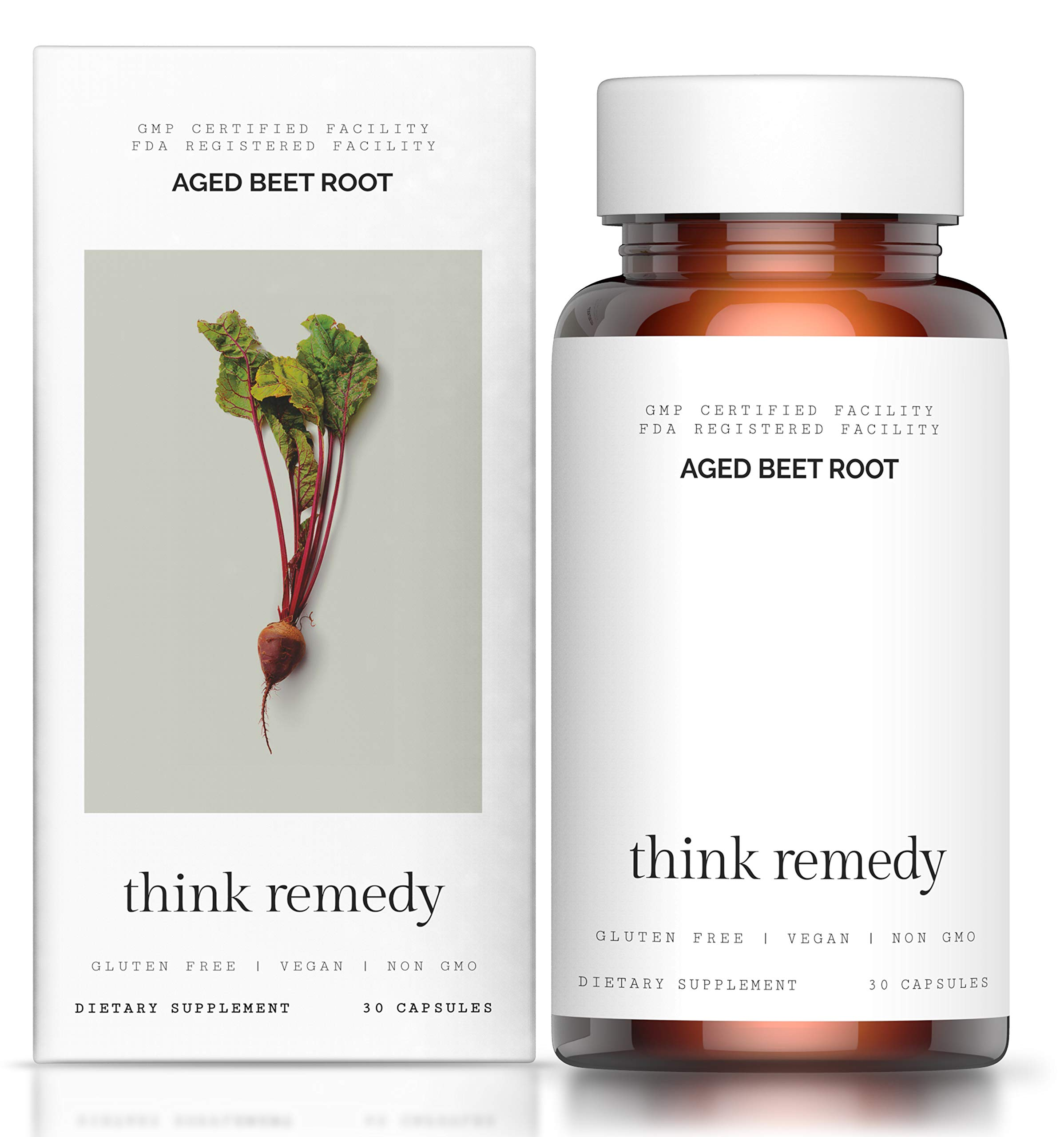 Aged Beet Root Capsules - Beet Pills for High Blood Pressure and Stamina - Organic Beet Root Powder - Nitric Oxide Supplement - Nitrate No Sugar - 30 Capsules - Beet Root Supplement - Super Beets by Think Remedy