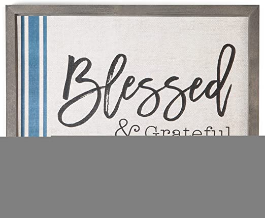 P GRAHAM DUNN Blessed /& Grateful Striped 18 x 11.5 Wood Farmhouse Frame Wall Plaque