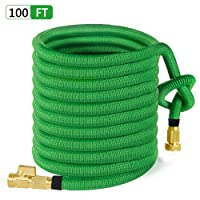 """100ft Garden Hose, ALL NEW 2018 Expandable Water Hose with 3/4"""" Solid Brass Fittings, Extra Strength Fabric - Flexible Expanding Hose with Free Storage Sack by MoonLa"""