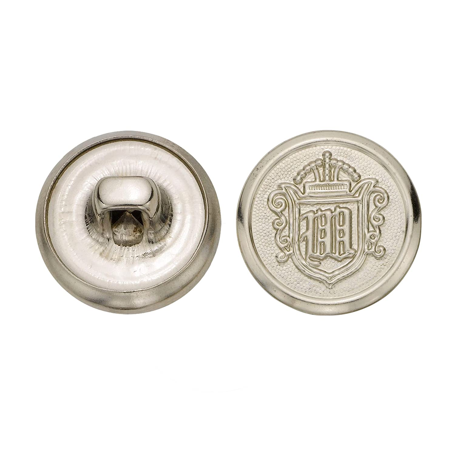 Nickel Size 24 Ligne 72-Pack C/&C Metal Products 5268 Crest Metal Button