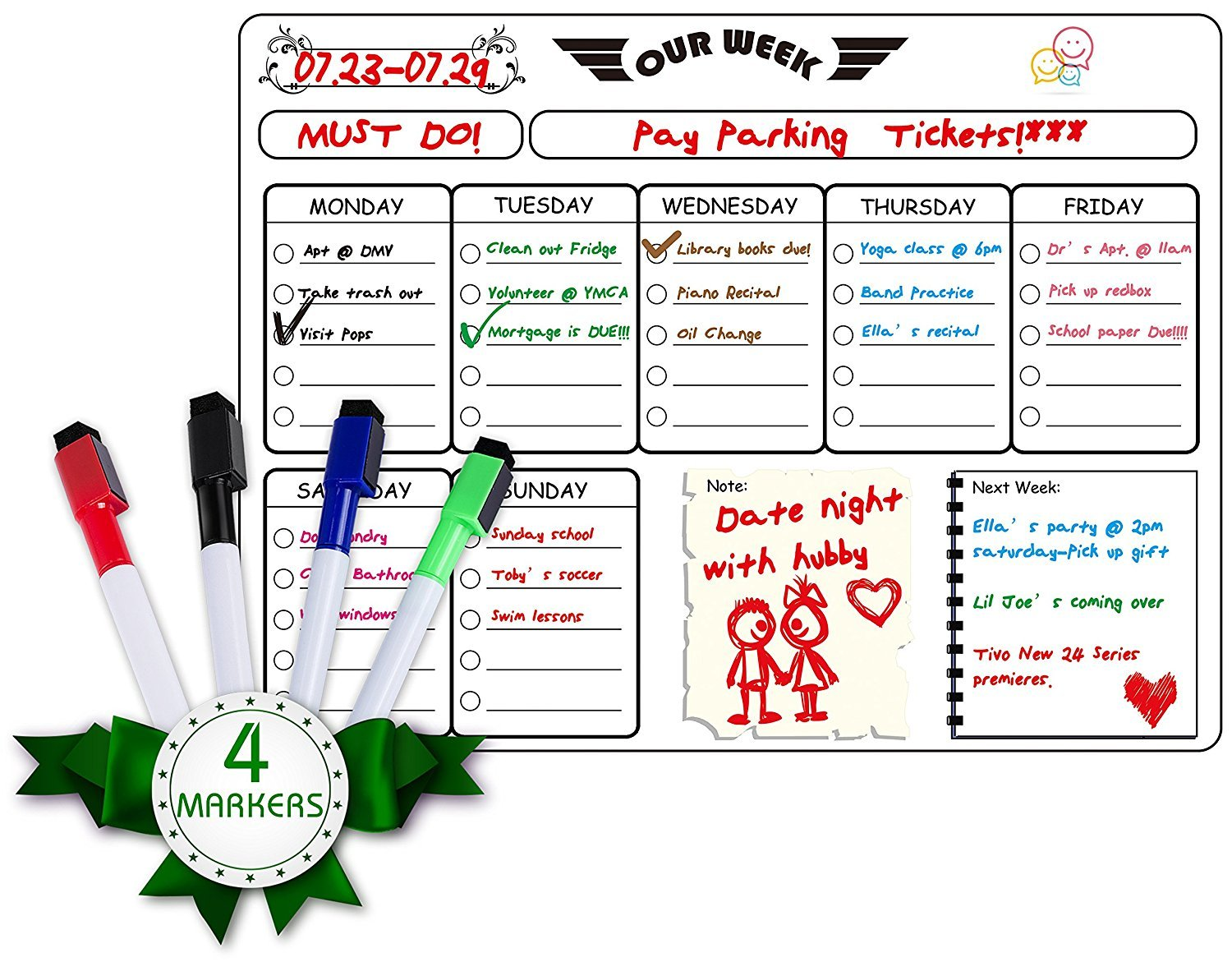 Besource Weekly Whiteboard Calendar Planner Magnetic Refrigerator Dry Erase Weekly Planner Message Board with 4 Magnetic Dry Erase Markers 16''X12''