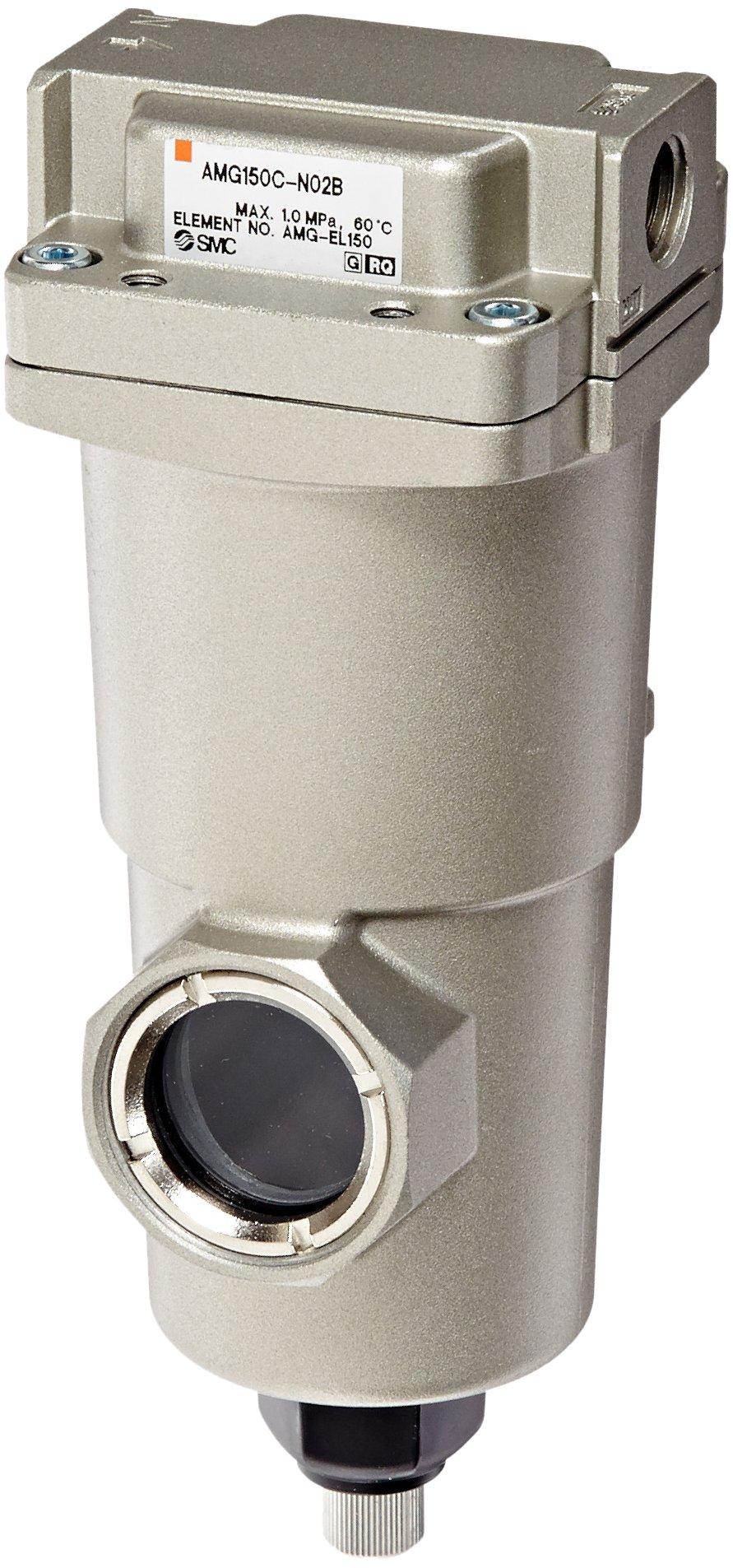 SMC AMG150C-N02B Water Separator, Manual Drain, 300 L/min, 1/4'' NPT, Mounting Bracket by SMC