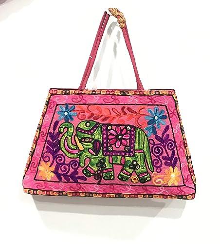 c6cd90e858 Amazon.com  Handmade Elephant Design Bag Kantha Handbag Women ...