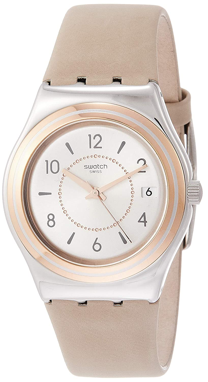 Amazon.com: Swatch Irony Caresse DEte Silver Dial Leather Strap Ladies Watch YLS458: Swatch: Watches