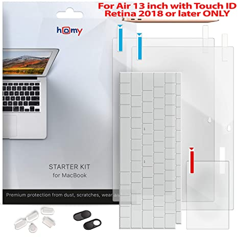 Homy Full Protection Kit for New MacBook Air 13 inch Retina 2018-2019: 2x  Matte Screen Protector + Keyboard Cover Touch ID + 2x Webcam Anti-Spy