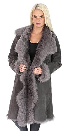 Damen Super Luxus Toscana Langer Mantel Real Schaffell Grau Shearling  Wildleder Finish Jacke - Pamela ( 8af3d3f6e8