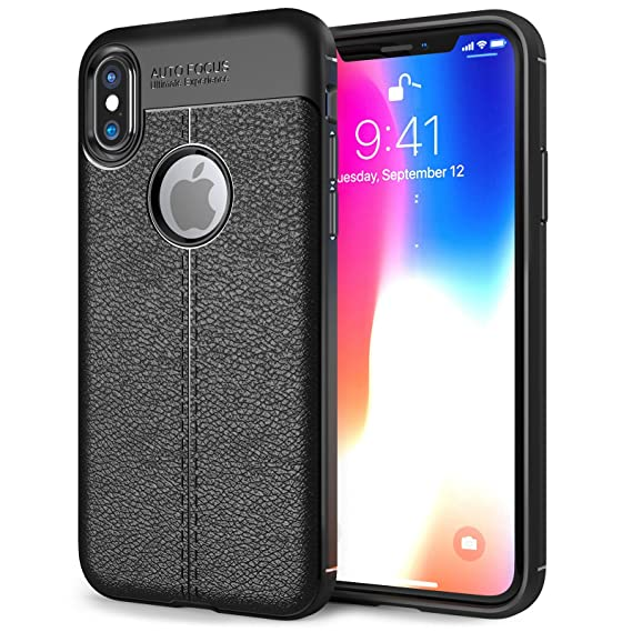 new photos 97444 d9918 EDIVIA iPhone X Case Black Silicone, TPU Gel Leather Back Effect Auto Focus  Case Cover for Apple iPhone X, Lightweight Protective iPhone X tpu cover -  ...