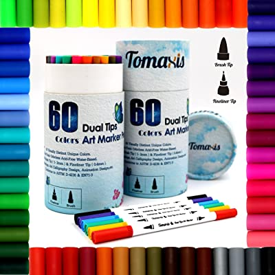 Bullet Journal Lot de 60 feutres de coloriage, 0,4 mm feutres à double pointe brosse Art marqueurs Fineliner, couleur à l'eau Dessin stylos