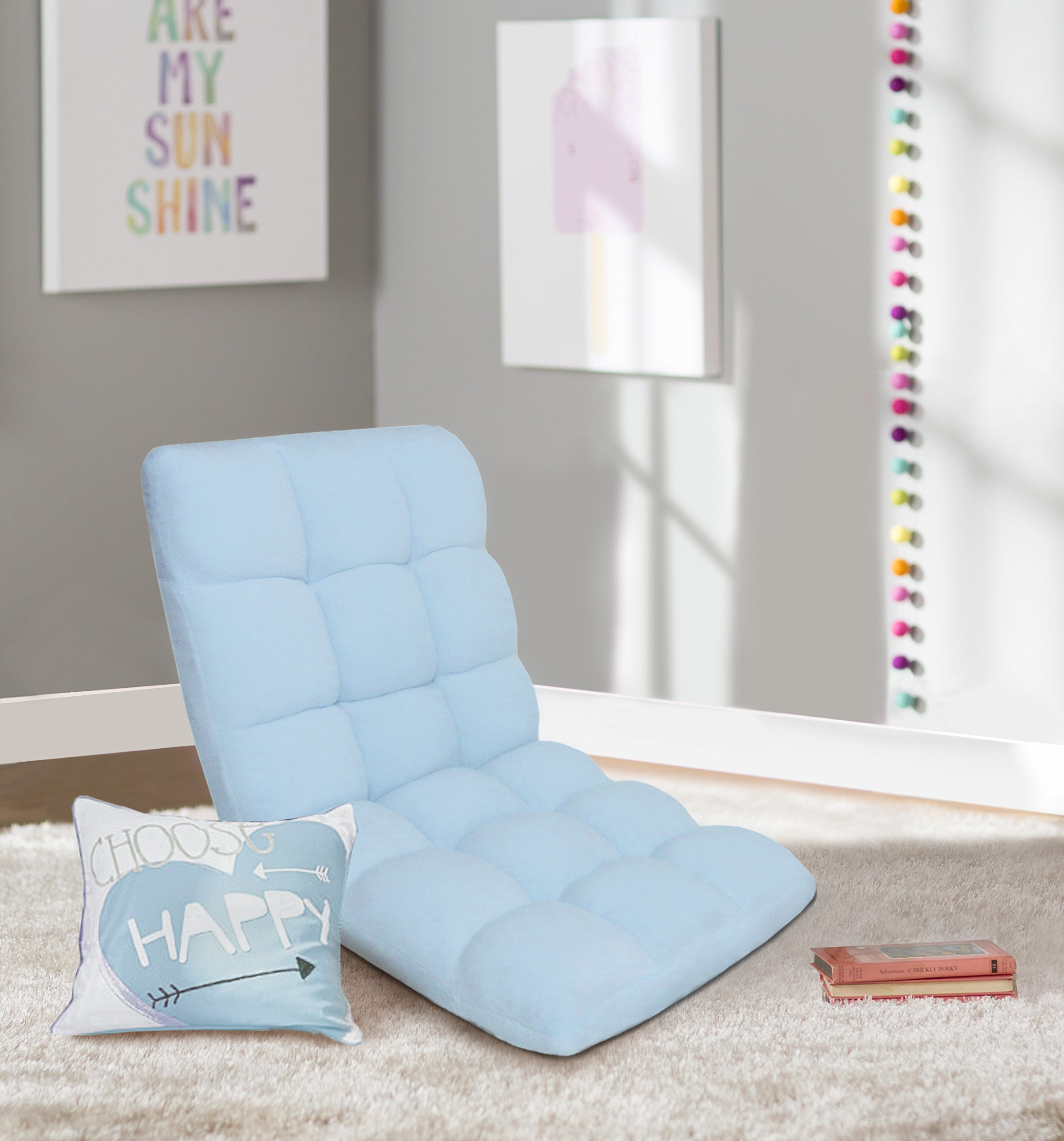 Chic Home RC64-26BL-N1-WT Lounge Adjustable Recliner Rocker Memory Foam Armless Floor Gaming Ergonomic Chair, Blue by Chic Home