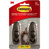 Command Forever Classic Metal Hook, Medium, Oil Rubbed Bronze, 2-Hooks (FC12-ORB-2ES), Great for dorm decor