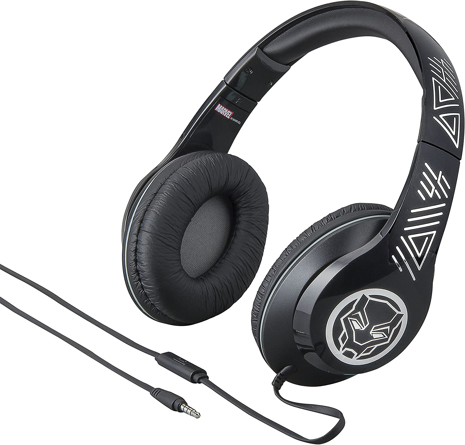 Marvel Over The Ear Wired Headphones with Built in Microphone Quality Sound from The Makers of iHome (Black Panther)