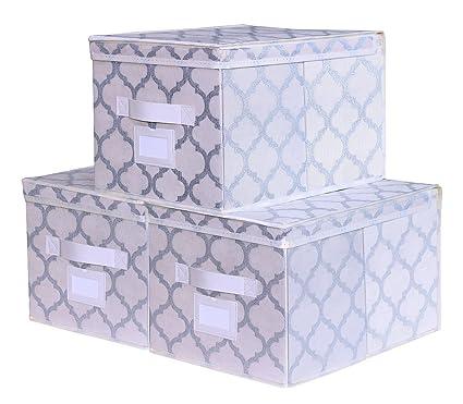 homyfort Set de 3 Cajas de Almacenaje Cubos de Tela Organizador Plegable con Tapa 30 x