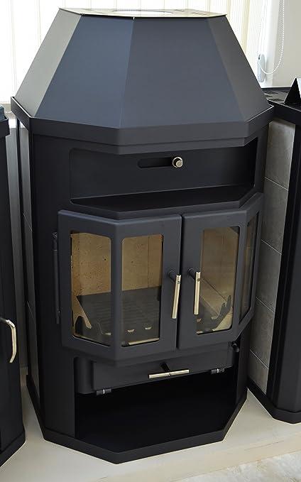 Estufa de leña con caldera integral 2 puertas arco 14/18 kW calefacción potencia cerámica