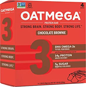 Oatmega Protein Bars, Chocolate Brownie, Healthy Snacks Made with Omega-3 and Grass-Fed Whey Protein, Gluten Free Protein Bars, 1.8oz (4 Count)