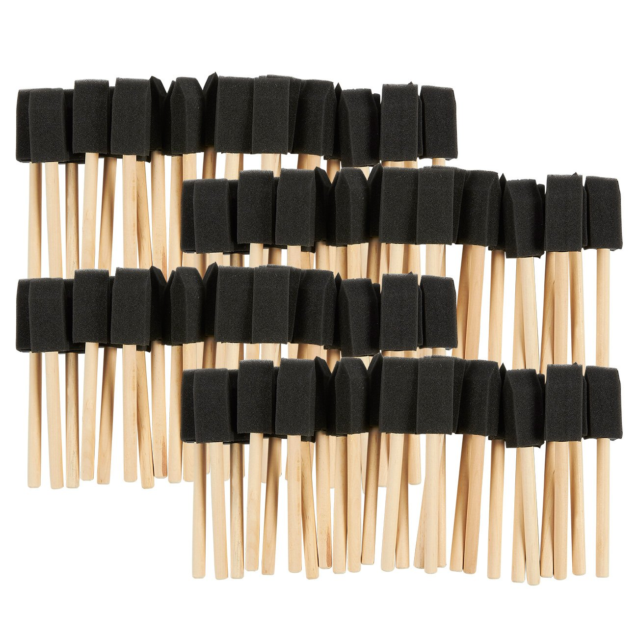 Juvale Pack of 100 1-Inch Foam Paint Brush Set - Value Pack - Great for Acrylics, Stains, Varnishes, Crafts, Art