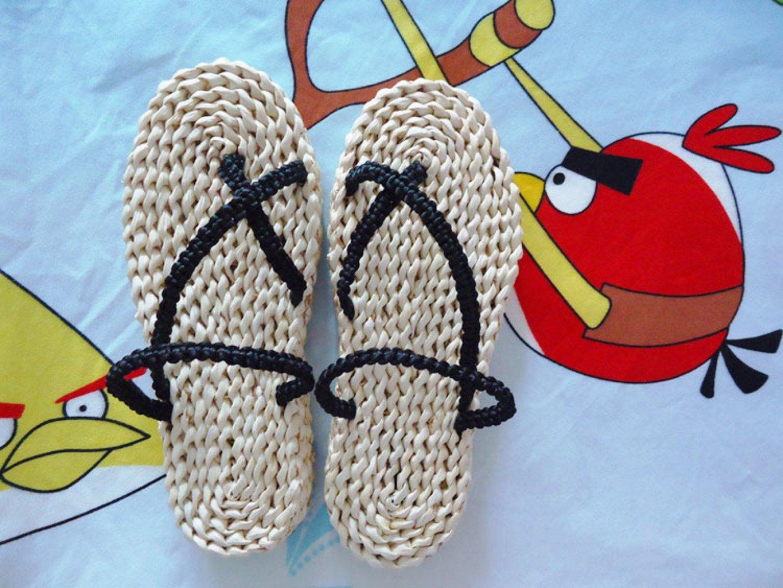 XING GUANG Luffy Grass Chaussures Commerce Extérieur Mode Paille À La Main Chaussures Plage Chaussures Une Pièce Casual Chaussures Flip-Flops, Black(39-40) mnbvc