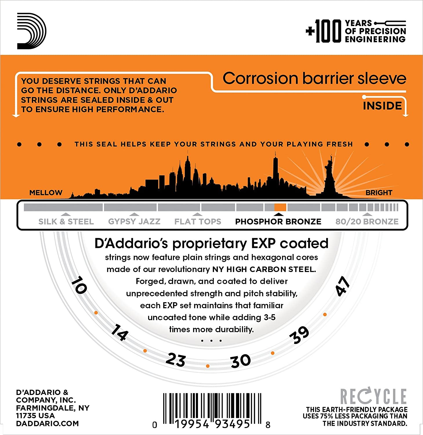 D/'Addario EXP38 Coated Phosphor Bronze Acoustic Guitar Strings Offers a Warm With NY Steel for Strength and Pitch Stability Light Bright and Well-Balanced Acoustic Tone and 4x Longer Life 10-47