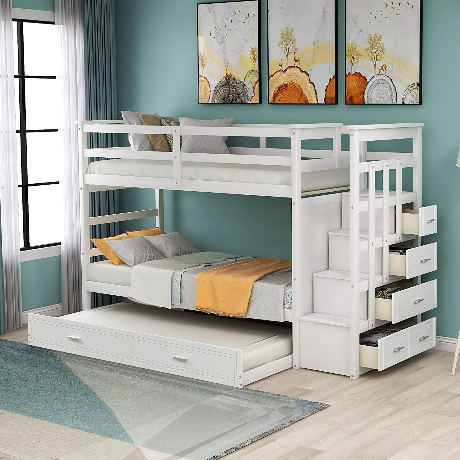 Amazon Com Twin Over Twin Bunk Bed With Trundle And Staircase Wood Twin Bunk Bed Frame With 4 Storage Drawers And Guardrails No Box Spring Needed White Kitchen Dining