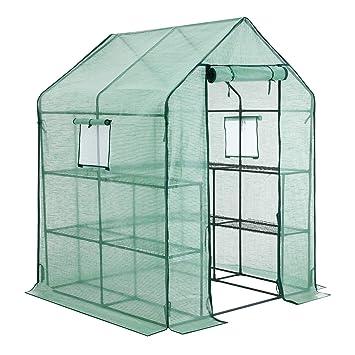 SONGMICS GWP12GN - Invernadero de plástico con 10 estantes, Invernadero con Puerta para enrollar,