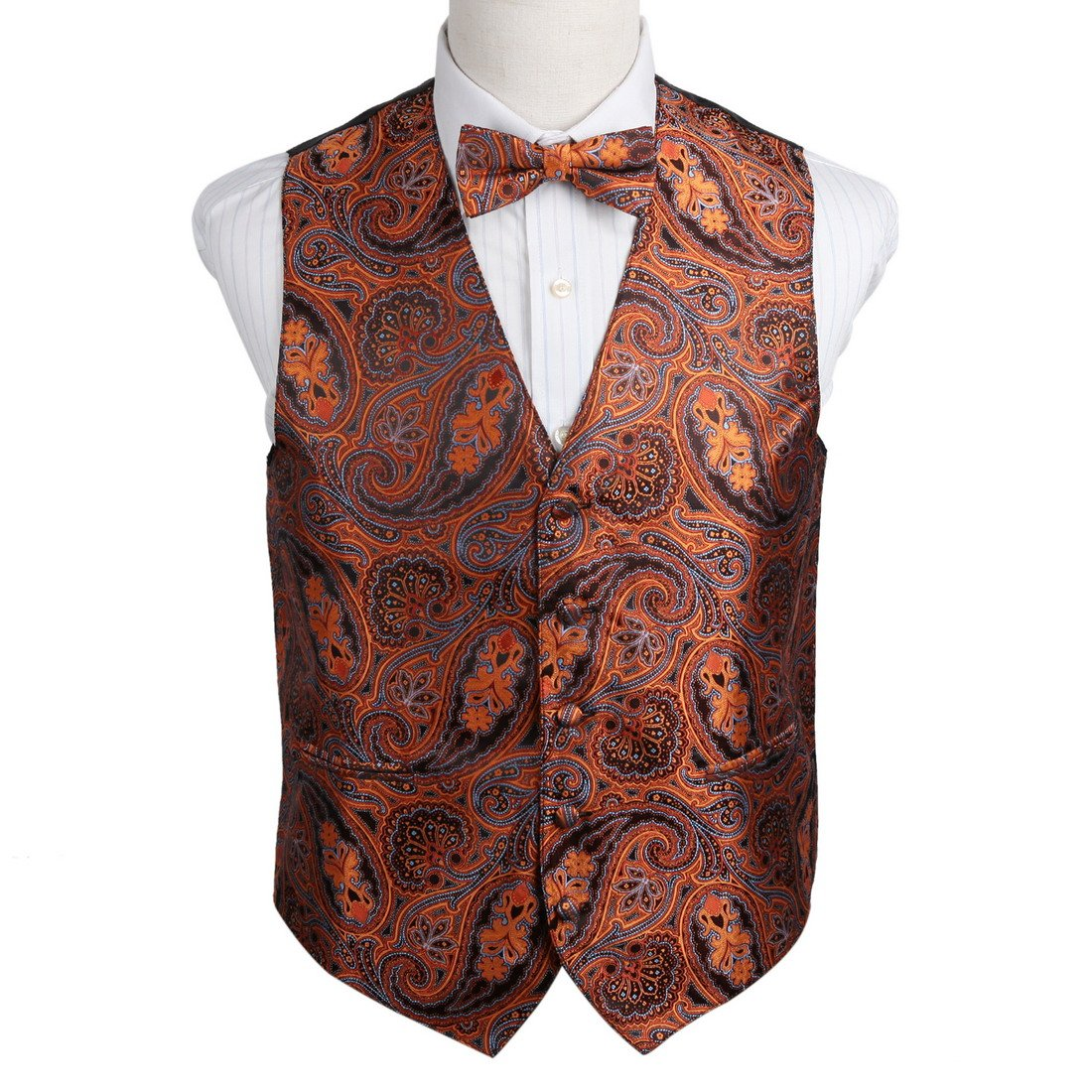 Epoint EGE2B03B-3XL Orange Blue Love for Work-Utility Patterns Microfiber Tuxedo Vest Pre-Tied Bow Tie Set Romance Fabric
