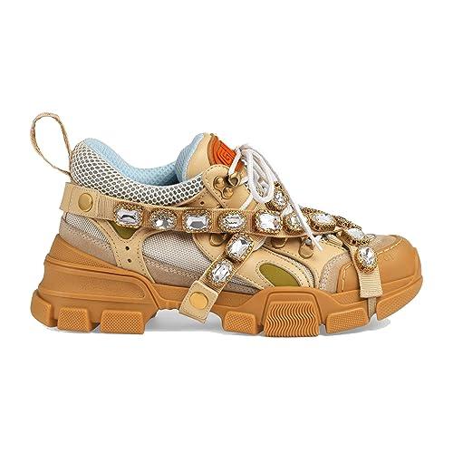 Gucci Mujer 540688GGZB09069 Beige Cuero Zapatillas: Amazon.es: Zapatos y complementos