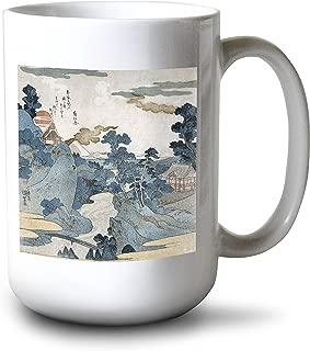 product image for Lantern Press an Evening View of Fuji - Japanese Wood-Cut (15oz White Ceramic Mug)