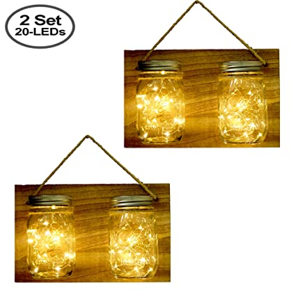 Solar Powered Mason Jar Hanging Lantern Lights, 4 Pack 20 Led Fairy ...