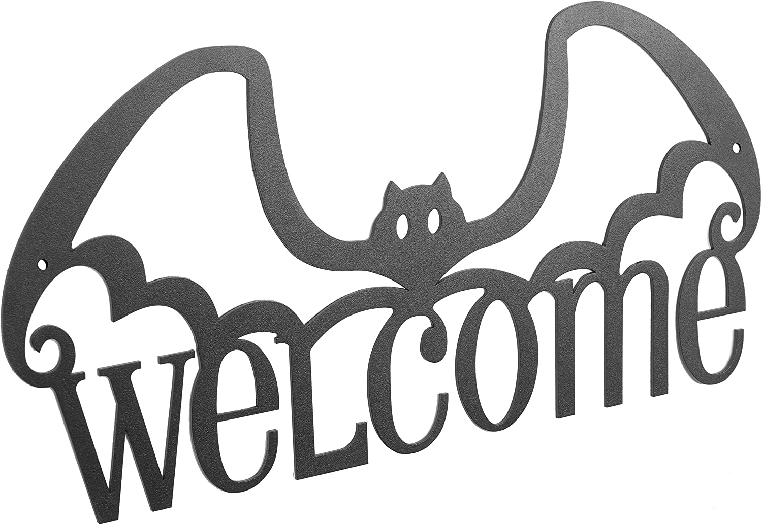 MyGift Wall-Mounted Metal Black Bat Design Welcome Sign Halloween Decoration, 14-Inch
