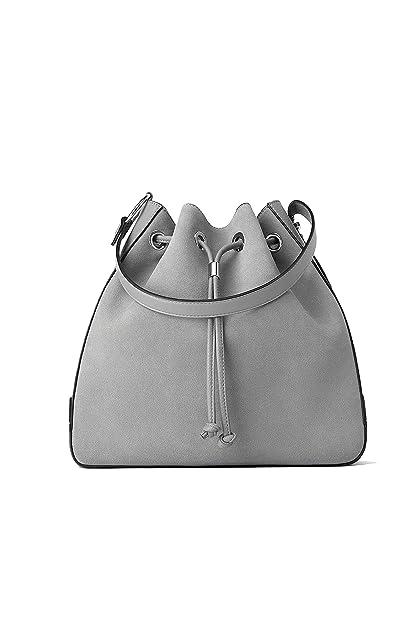 Zara - Bolso mochila de Cuero para mujer Gris gris Medium: Amazon.es: Zapatos y complementos