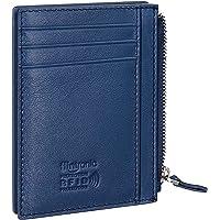 Flintronic Kreditkortsplånbok, RFID-Blockering Äkta Indigo Läderkorthållare Anti-Stöld (1 Blixtlåsfack, 6 Kortspår & 1…