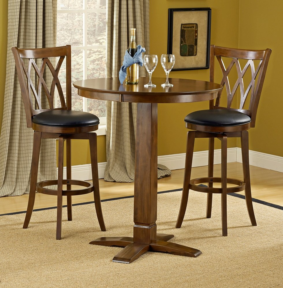 Amazon.com: Mansfield/Dynamic Designs Pub Table Set in Brown Cherry ...