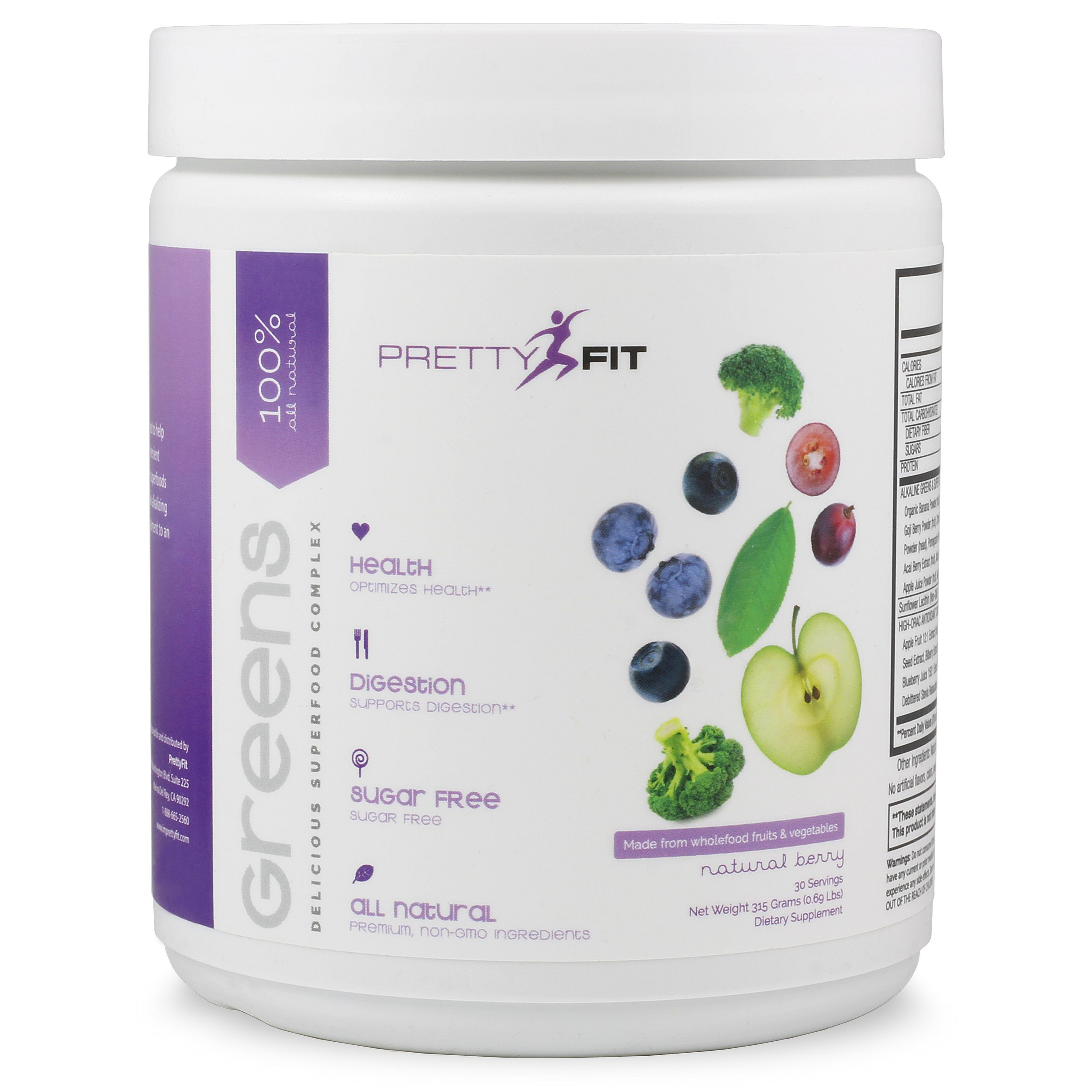 PrettyFit Greens - 30 Day Supply - Delicious Superfood Powder - Fruits & Vegetables, Probiotics, Adaptogenic Herbs, Antioxidants, Digestive Enzymes- Increase Energy, Improve Digestion & Immunities. Non-GMO