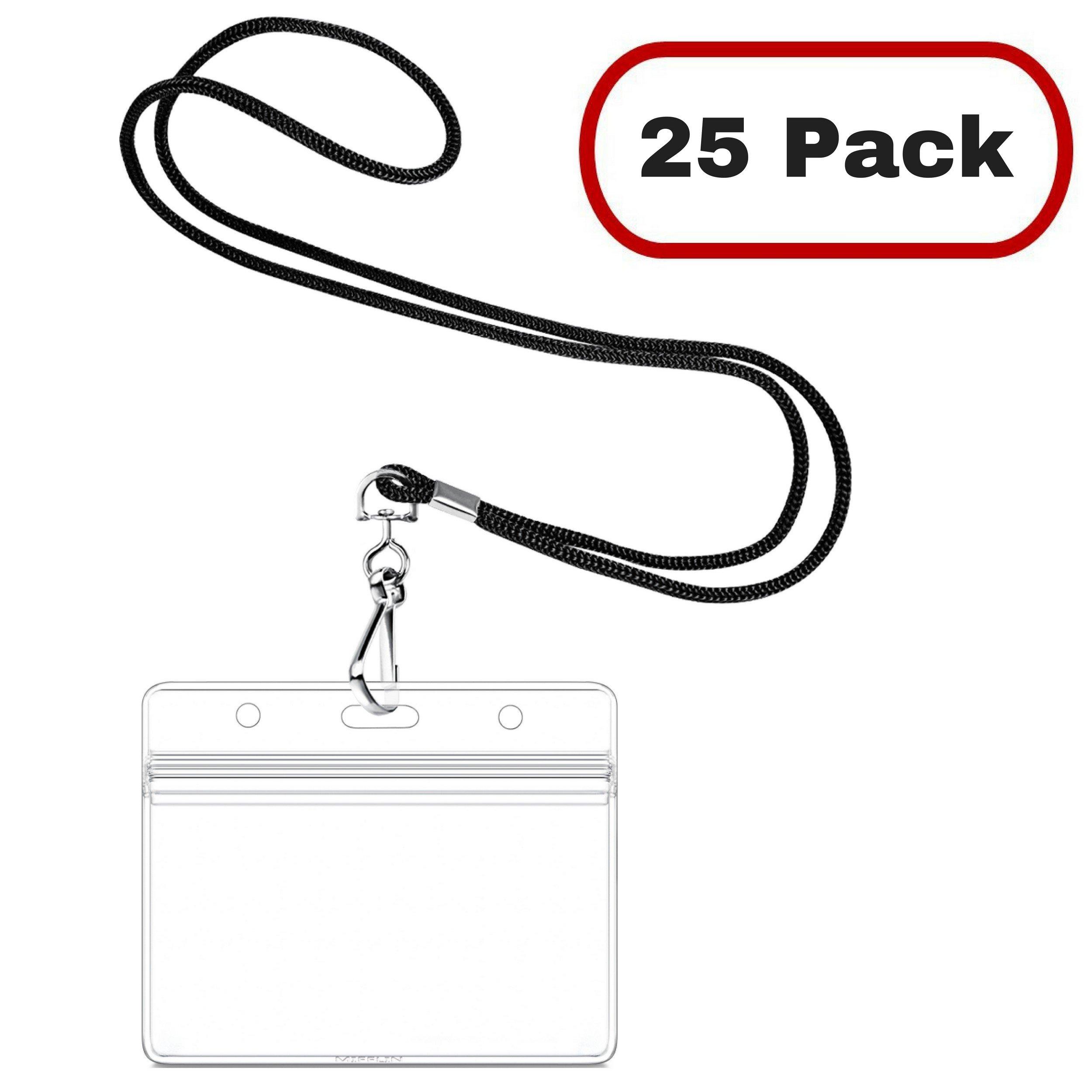 Mifflin Lanyard with Horizontal ID Name Tag Badge Holder (25 Pack, Satin Black Non-Breakaway)