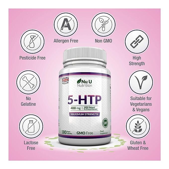 5-HTP 400 mg Suplemento de Máxima Potencia | 180 Cápsulas de 5 HTP - Suministro para 6 Meses | 5htp de Alta Potencia | Cápsulas Veganas de 5 htp Libres de ...