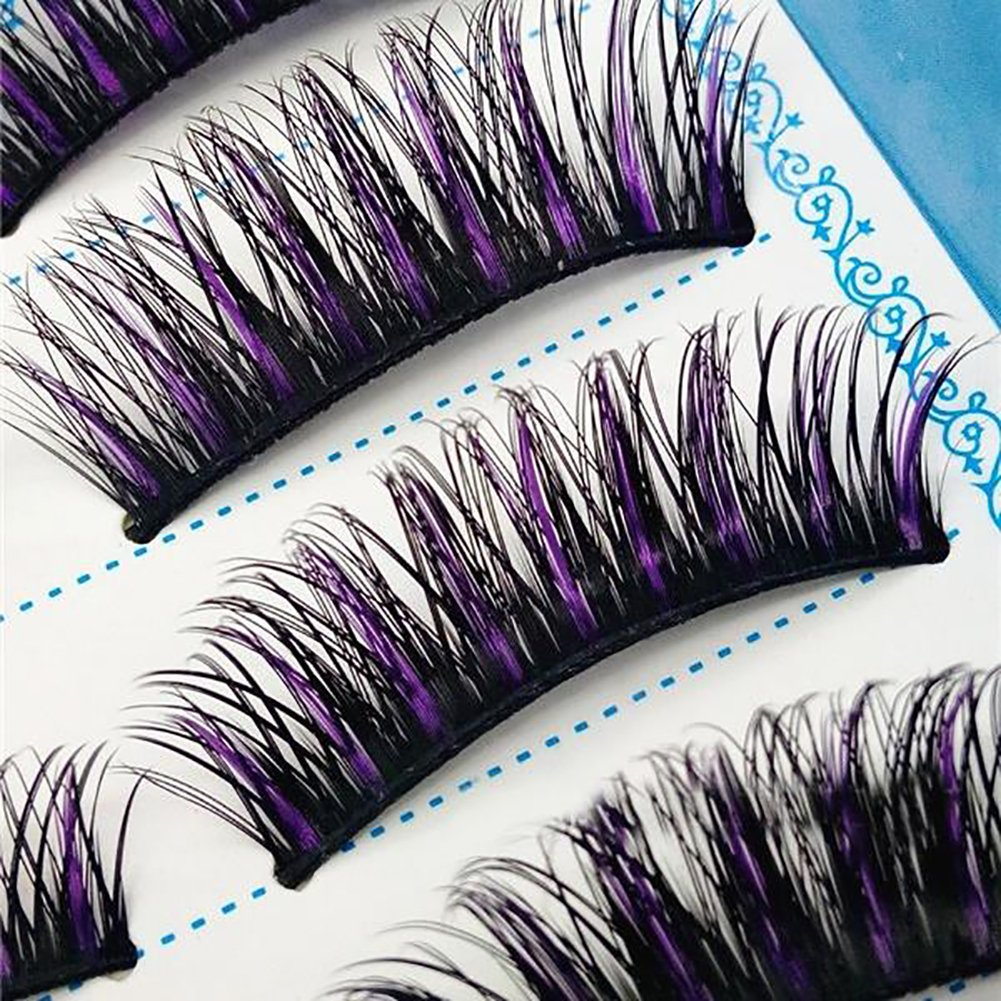 Connoworld 5 Pairs False Eyelashes Handmade Synthetic Fibre Charming Long Curly Thick Fake Eye Lashes Extension Stage Performance Makeup Tool Black + Purple