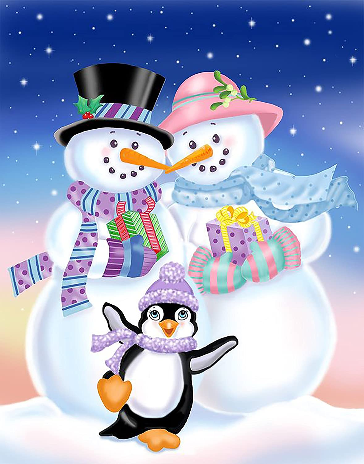 Velosso Snowman Penguin Winter Soft Polar Fleece, Throw Christmas Blanket, Suitable for Chair or Bed, Machine Washable, 127cm x 152cm, Cosy blanket HBS