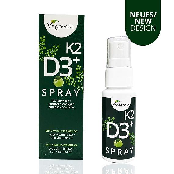 Vitamina D3 + K2 Spray | Calcio + Salud de Huesos + Piel + Dientes | 25ml | Mayor Biodisponibilidad | Vegano | Vegavero: Amazon.es: Salud y cuidado personal
