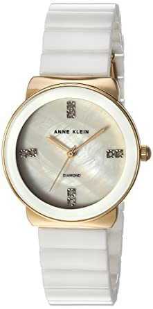 11e1ba95b Image Unavailable. Image not available for. Color: Anne Klein Women's AK/2714WTGB  Diamond-Accented Gold-Tone and White Ceramic Bracelet