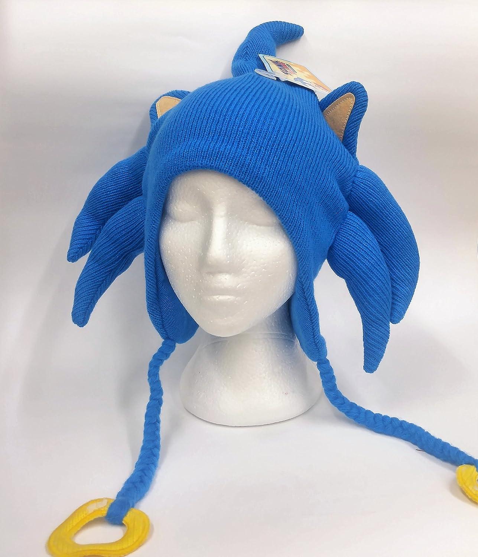 Sega Sonic The Hedgehog 3D Licensed Junior Adult Laplander Blue Knit Hat Tuque BioWorld