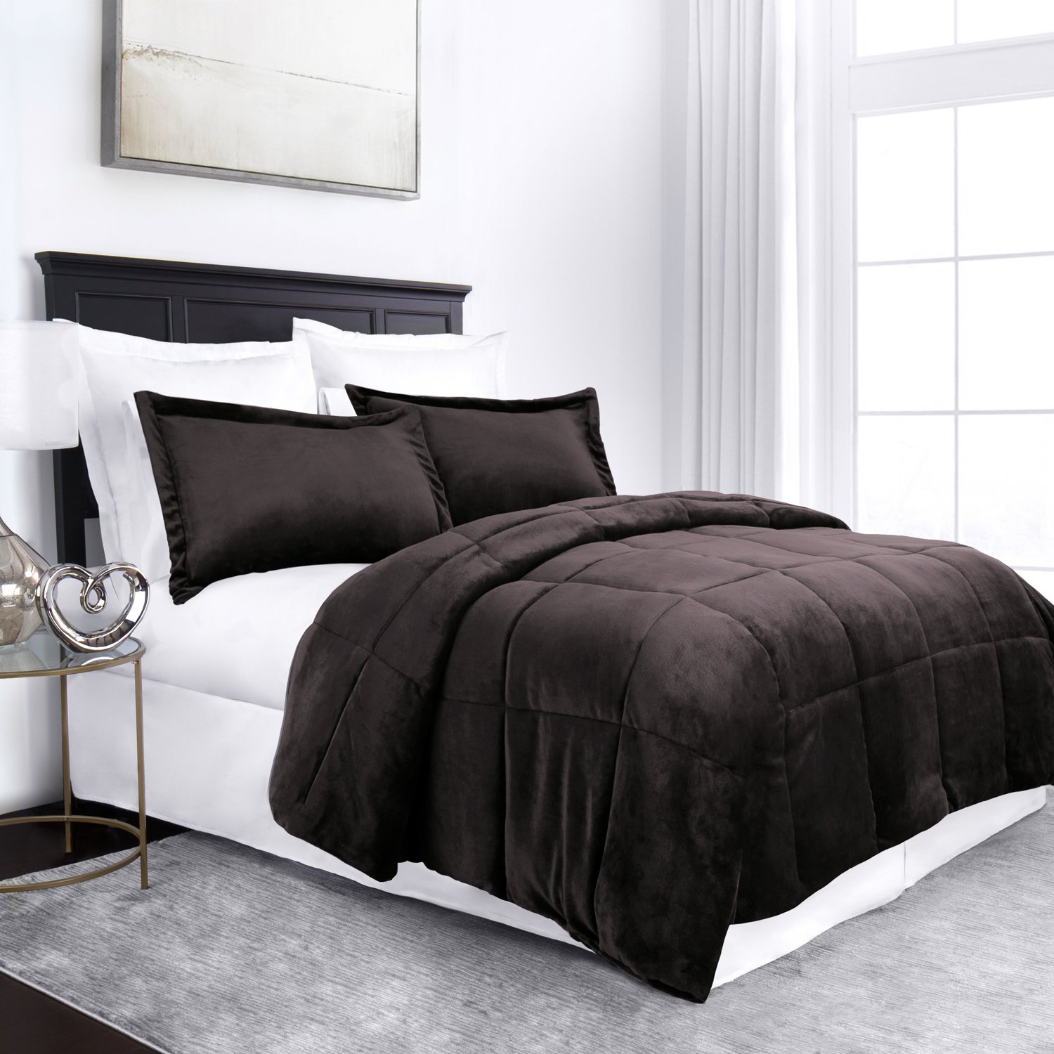 Sleep Restoration Micromink Goose Down Alternative Comforter Set - All Season Hotel Quality Luxury Hypoallergenic Comforter/Blanket with Shams - Full/Queen - Black RG-SRMCRMNKCOMF-F/Q-BLK