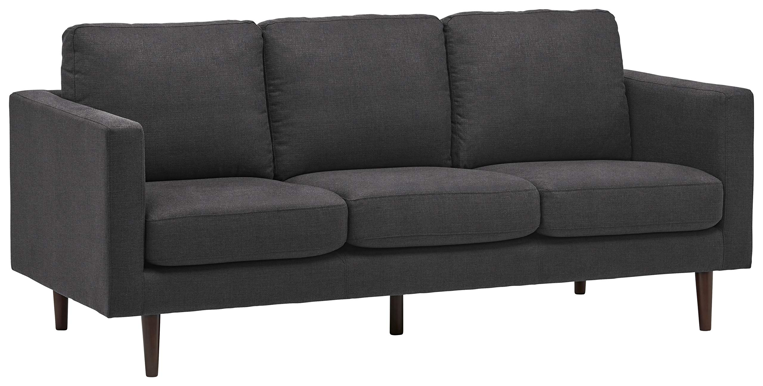 Rivet Revolve Modern Upholstered Sofa with Tapered Legs, 79.9''W, Storm Grey by Rivet
