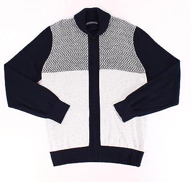 Sean John Mens Zig-Zag Colorblocked Cardigan Sweater