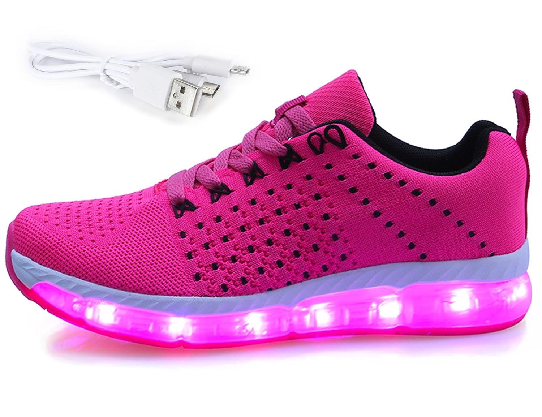 Mr.Ang LED Zapatillas de 7 Colores de Luces con USB de Carga Transpirables para los Niños y los Adolescentes 43 EU|G10 Rosa