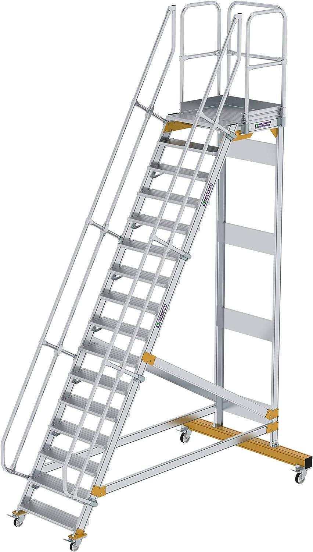 Stufenbreite//Stufentiefe 1000 Senkrechte H/öhe 2,66 m 200 mm Stufenanzahl 11 Aluminium-Plattformtreppe fahrbar 60/°