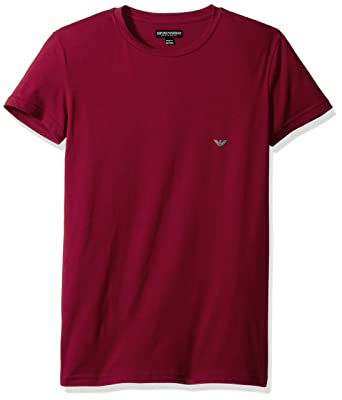 b0d3eb0b97c8 Emporio Armani Men's Iconic Logo Stretch Cotton Crew Neck T-Shirt, Red  Currant,