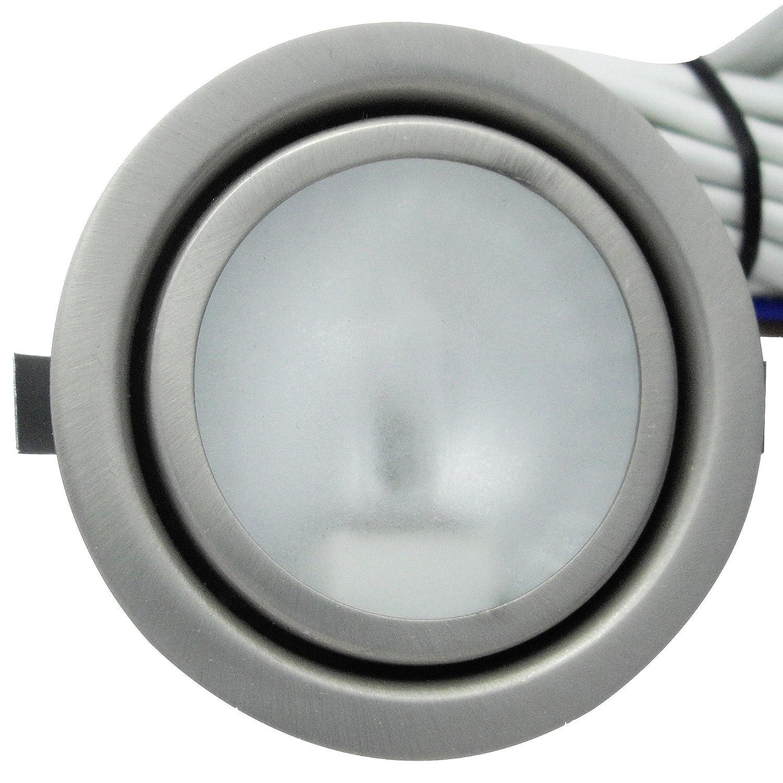 Kabel mit AMP Stecker Farbe Chrom 2 St/ück Halogen M/öbeleinbaustrahler Laura 12 Volt 20 Watt inkl